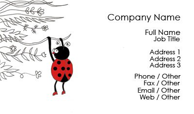 White and Black Ladybug Business Card Template